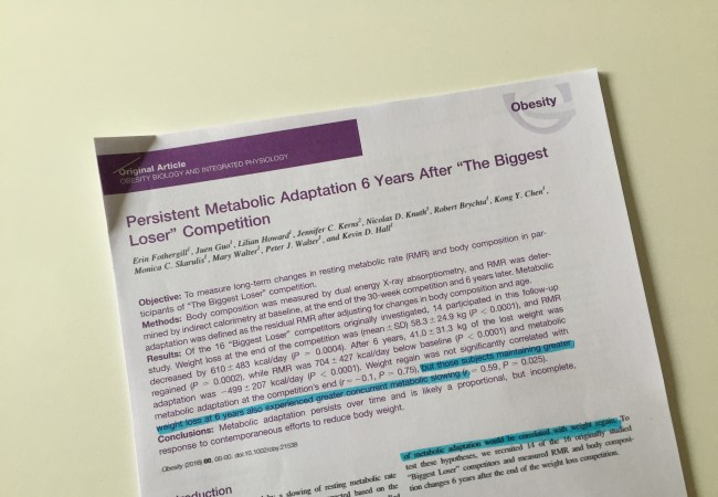 New research showing long term metabolic changes in The Biggest Loser participants which are not observed after gastric bypass